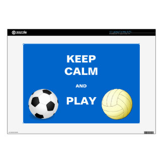 """Keep Calm and Play Socce and Volleyball 15"""" Laptop Decals"""