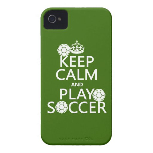 Keep Calm and Play Soccer (any color) iPhone 4 Case-Mate Cases