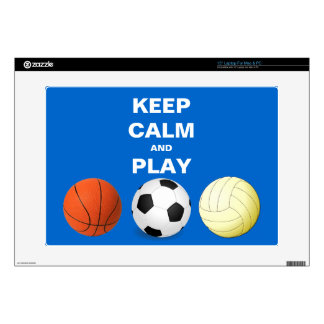 """Keep Calm and Play Soccer Basketball Volleyball 15"""" Laptop Skins"""