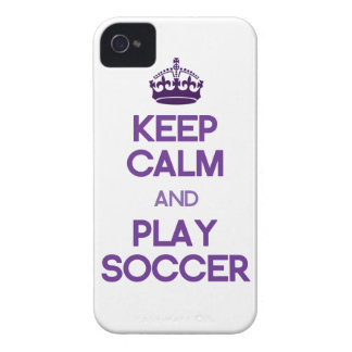 Keep Calm And Play Soccer (Purple) iPhone 4 Cover