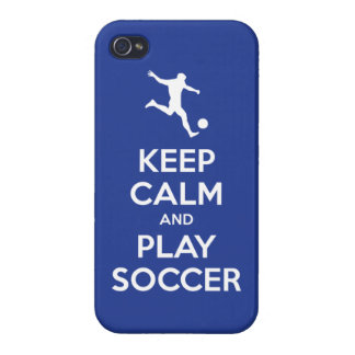 Keep Calm and Play Soccer (reflex blue) iPhone 4 Case