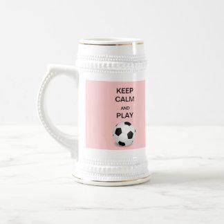 Keep Calm and Play Soccer Stein
