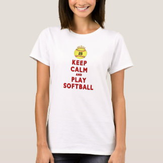 KEEP CALM AND PLAY SOFTBALL SHIRT with YOUR NUMBER