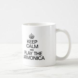 KEEP CALM AND PLAY THE ARMONICA CLASSIC WHITE COFFEE MUG