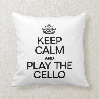 KEEP CALM AND PLAY THE CELLO THROW PILLOW