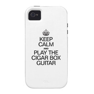 KEEP CALM AND PLAY THE CIGAR BOX GUITAR VIBE iPhone 4 CASES