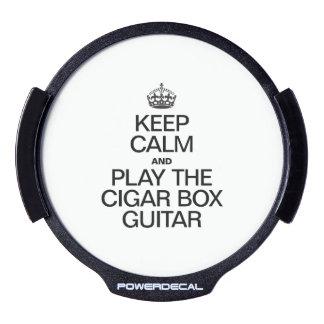 KEEP CALM AND PLAY THE CIGAR BOX GUITAR LED CAR WINDOW DECAL