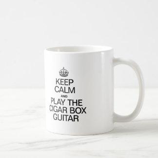 KEEP CALM AND PLAY THE CIGAR BOX GUITAR CLASSIC WHITE COFFEE MUG