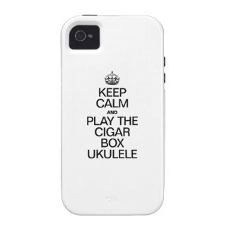 KEEP CALM AND PLAY THE CIGAR BOX UKULELE Case-Mate iPhone 4 COVERS