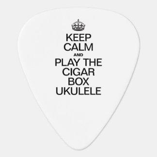 KEEP CALM AND PLAY THE CIGAR BOX UKULELE GUITAR PICK