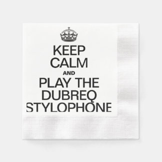 KEEP CALM AND PLAY THE DUBREQ STYLOPHONE COINED COCKTAIL NAPKIN