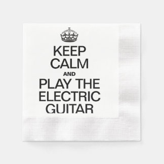 KEEP CALM AND PLAY THE ELECTRIC GUITAR COINED COCKTAIL NAPKIN