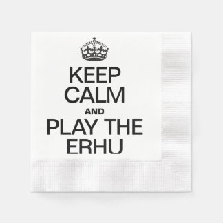 KEEP CALM AND PLAY THE ERHU COINED COCKTAIL NAPKIN