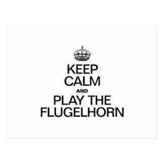 KEEP CALM AND PLAY THE FLUGELHORN POSTCARD
