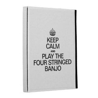 KEEP CALM AND PLAY THE FOUR STRINGED BANJO iPad FOLIO COVERS