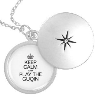 KEEP CALM AND PLAY THE GUQIN ROUND LOCKET NECKLACE