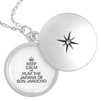 KEEP CALM AND PLAY THE JARANA DE SON JAROCHO ROUND LOCKET NECKLACE