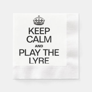 KEEP CALM AND PLAY THE LYRE COINED COCKTAIL NAPKIN