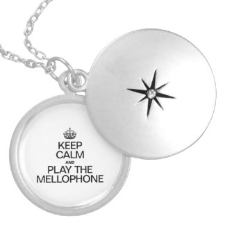 KEEP CALM AND PLAY THE MELLOPHONE ROUND LOCKET NECKLACE