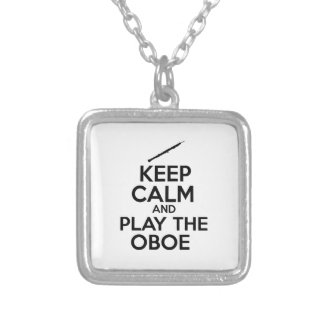 Keep Calm And Play The Oboe Silver Plated Necklace