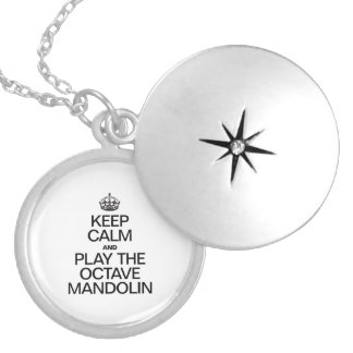 KEEP CALM AND PLAY THE OCTAVE MANDOLIN ROUND LOCKET NECKLACE