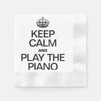 KEEP CALM AND PLAY THE PIANO COINED COCKTAIL NAPKIN