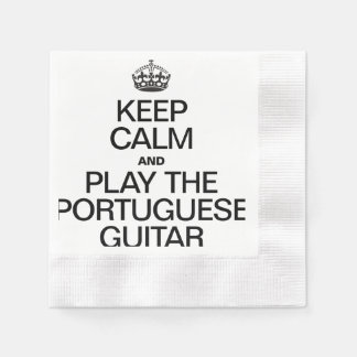 KEEP CALM AND PLAY THE PORTUGUESE GUITAR COINED COCKTAIL NAPKIN