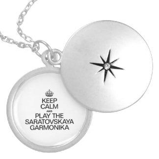 KEEP CALM AND PLAY THE SARATOVSKAYA GARMONIKA ROUND LOCKET NECKLACE