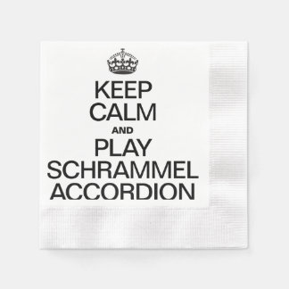 KEEP CALM AND PLAY THE SCHRAMMEL ACCORDION COINED COCKTAIL NAPKIN
