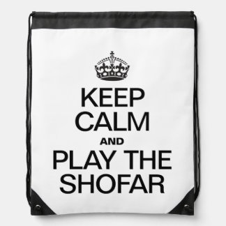 KEEP CALM AND PLAY THE SHOFAR DRAWSTRING BAG