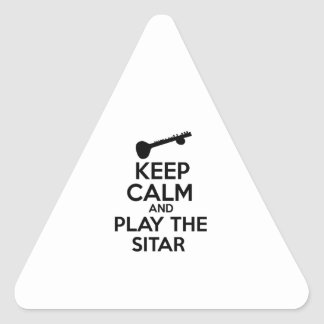 Keep Calm And Play The Sitar Triangle Sticker