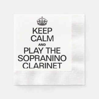 KEEP CALM AND PLAY THE SOPRANINO CLARINET COINED COCKTAIL NAPKIN