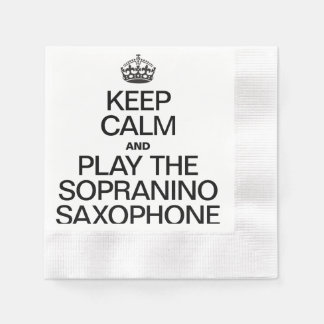 KEEP CALM AND PLAY THE SOPRANINO SAXOPHONE COINED COCKTAIL NAPKIN