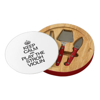 KEEP CALM AND PLAY THE STROH VIOLIN ROUND CHEESEBOARD