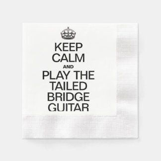 KEEP CALM AND PLAY THE TAILED BRIDGE GUITAR COINED COCKTAIL NAPKIN