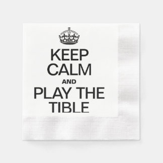 KEEP CALM AND PLAY THE TIBLE COINED COCKTAIL NAPKIN
