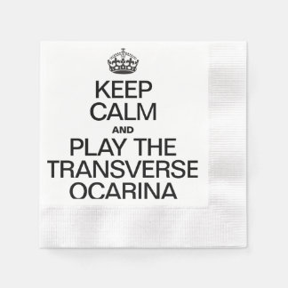 KEEP CALM AND PLAY THE TRANSVERSE OCARINA COINED COCKTAIL NAPKIN
