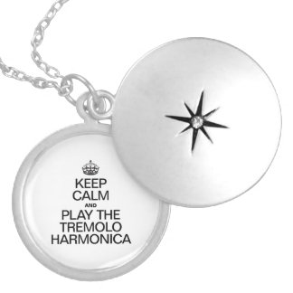KEEP CALM AND PLAY THE TREMOLO HARMONICA ROUND LOCKET NECKLACE