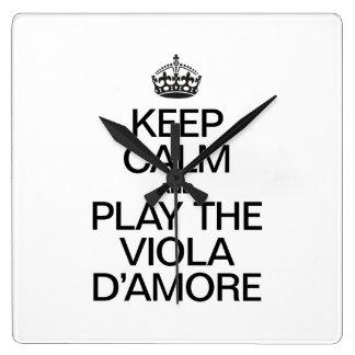 KEEP CALM AND PLAY THE VIOLA D'AMORE WALLCLOCKS
