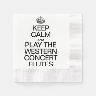 KEEP CALM AND PLAY THE WESTERN CONCERT FLUTES COINED COCKTAIL NAPKIN