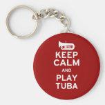 Keep Calm and Play Tuba Basic Round Button Keychain