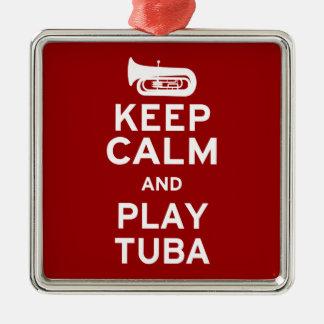 Keep Calm and Play Tuba Metal Ornament