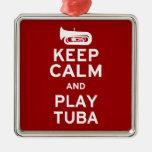 Keep Calm and Play Tuba Square Metal Christmas Ornament