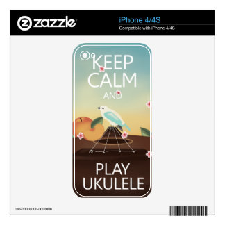 Keep Calm and Play Ukulele Decal For iPhone 4