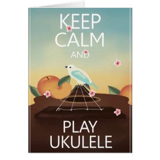 Keep Calm and Play Ukulele Hawaiian Style Card