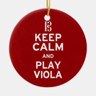 Keep Calm and Play Viola Ceramic Ornament