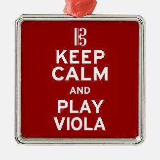 Keep Calm and Play Viola Metal Ornament