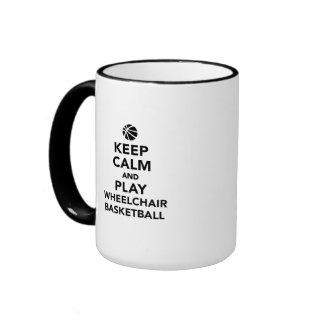 Keep calm and play wheelchair basketball ringer mug
