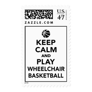 Keep calm and play wheelchair basketball stamp