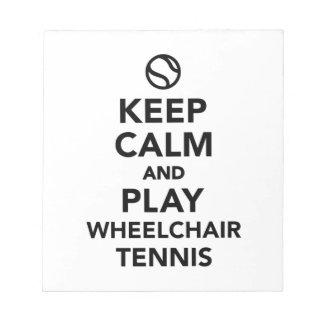 Keep calm and play wheelchair tennis notepad
